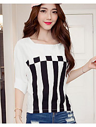 Women's Going out Casual/Daily Simple Active Summer T-shirt,Striped Round Neck Short Sleeve Cotton Medium