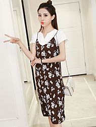 Women's Going out Casual/Daily Loose Dress,Floral V Neck Knee-length Short Sleeve Spandex Spring Summer Low Rise Inelastic Medium