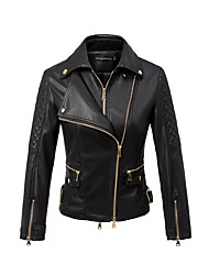 Women's Casual/Daily Simple Spring Leather Jacket,Solid Shirt Collar Half-Sleeve Short
