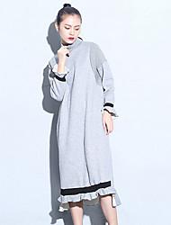 Women's Daily Sweatshirt Solid Turtleneck Inelastic Cotton Canvas Long Sleeve Fall Winter