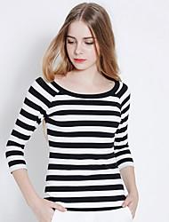 Tee-shirt Femme,Rayé Bureau/Carrière Décontracté simple Manches ¾ Col Arrondi Coton