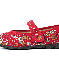 Women's Flats Traditional Fabric Spring/Fall Casual Buckle Flat Heel Pool Ruby Flat