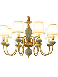 Chandelier   Traditional/Classic Country Brass Feature for LED Mini Style Metal Living Room Bedroom Dining Room Study Room/Office 8 Bulbs