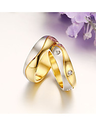 2PCS Couple's Ring  Cubic Zirconia Vintage Simple  Rose Gold Titanium Steel Ring  Jewelry For Wedding Party Daily