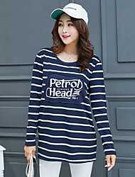 Damen Gestreift Einfach T-shirt,Rundhalsausschnitt Langarm Baumwolle