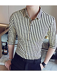 Men's Other Casual Simple Spring Summer Shirt,Striped Stand 3/4 Length Sleeve Cotton Acrylic Thin