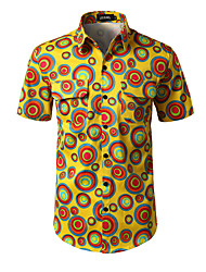 Men's Casual/Daily Work Simple Shirt,Geometric Shirt Collar Short Sleeve Polester/Cotton Blend