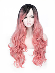 Hot Selling Black To Pink Color Long Wave Women Wigs Heat Resisting Syntheitc Wigs