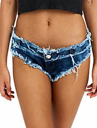 Feminino Sensual Simples Cintura Baixa Micro-Elástica Jeans Calças,Delgado Sólido,rasgado