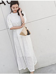 Women's Casual/Daily Swing Dress,Solid Round Neck Midi 3/4 Length Sleeve Silk Summer Mid Rise Micro-elastic Thin