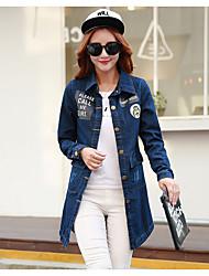 Veste en jean Femme,Couleur Pleine Sortie Vintage Printemps Manches longues Col Carré Long Coton