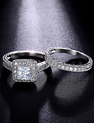 Ring Engagement Ring AAA Cubic Zirconia Fashion Luxury Classic Silver Cubic Zirconia Round Jewelry For Wedding Party Daily 1 Set