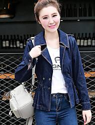 Women's Daily Casual Spring/Fall Denim Jacket,Solid Shirt Collar Long Sleeve Regular Denim