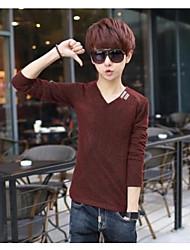 Tee-shirt Homme,Couleur Pleine simple Manches Courtes Col en V Coton
