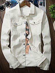 Men's Casual/Daily Simple Fall Denim Jacket,Solid Shirt Collar Long Sleeve Regular