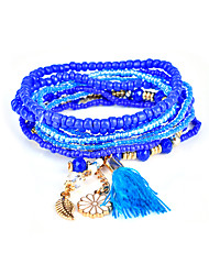 Lureme Bohemian Beads Flower Leaf Tassel Charms Multi Strand Textured Stackable Bracelet Set