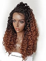 Femme Perruque Naturelles Dentelle Cheveux humains Lace Front Sans Colle Lace Front 180% Densité Très Frisé Perruque Noir / Medium Auburn