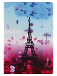 For Case Cover Card Holder with Stand Flip Pattern Smart Touch Full Body Case Flower Eiffel Tower Hard PU Leather for iPad (2017) Pro10.5 Pro9.7 Air2