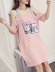 Women's Casual/Daily Loose Dress,Solid Round Neck Knee-length Short Sleeve Polyester Summer Low Rise Micro-elastic Thin