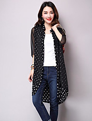 Trench Femme,Points Polka Décontracté / Quotidien simple Eté Manches 3/4 Col Arrondi Long Polyester