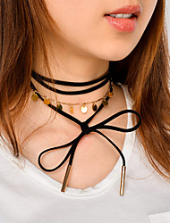 Choker Necklaces Chain Necklaces Jewelry Tassel Euramerican Fashion Personalized Copper Alloy Bowknot Necklaces ForParty Special Occasion