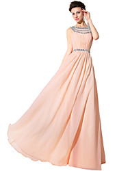 Formal Evening Dress Sheath / Column Jewel Floor-length Chiffon with Beading