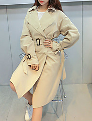 Women's Casual/Daily Vintage Spring Trench Coat,Solid V Neck Long Sleeve Long Nylon