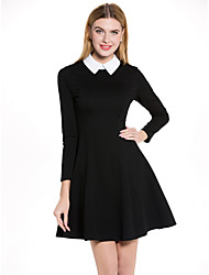 SHE'SWomen's Casual/Daily Work Simple Shift DressSolid Shirt Collar Above Knee Short Sleeve Cotton Polyester Summer Mid Rise Micro-elastic