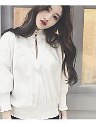 Damen Solide Einfach T-shirt,Ständer Langarm Baumwolle