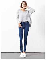 Women's High Waist Micro-elastic Straight Pants,Simple Pencil Solid