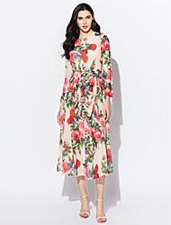 Women's Boho Holiday Vintage / Boho Chiffon Dress,Floral Round Neck Maxi Long Sleeve Pink Polyester Spring Mid Rise Micro-elastic Thin