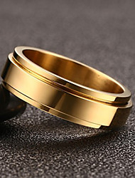Men's Ring Vintage Simple Titanium Steel Gold Plated Rings  Jewelry For Wedding Party/ Evening Engagement Daily 1 Set