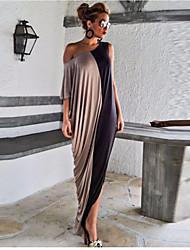 Balançoire Robe Femme Sortie Couleur Pleine Epaules Dénudées Maxi Soie Eté Taille Haute Micro-élastique Fin