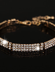 Women's Chain Bracelet AAA Cubic Zirconia Fashion Vintage Crystal Rhinestone Circle Jewelry For Wedding Party Gift 1 Set