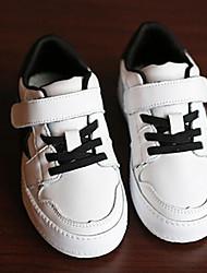 Girls' Flats Comfort Cowhide Spring Fall Casual Walking Comfort Magic Tape Low Heel Black White Flat