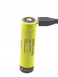 Sunwalk 3000mah 18650 Ni-mh Nimh bateria recarregável com micro usb baterias recarregáveis pré-carregadas