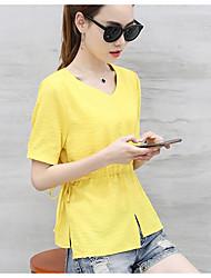 Tee-shirt Femme,Couleur Pleine simple Manches Courtes Col en V Polyester