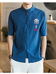 Masculino Camisa Social Diário Casual Vintage Temática Asiática Verão,Sólido Tecido Linho Colarinho Chinês Meia Manga Fina