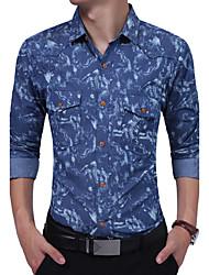 Для мужчин Повседневные На каждый день Все сезоны Рубашка Рубашечный воротник,Винтаж Простое Богемный Жаккард Мода Джинсы Длинный рукав,