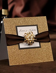 50 Gold Glitter Wedding Invitations Card Kit With RSVP and Envelope Birthday Party Invitations Set NK600