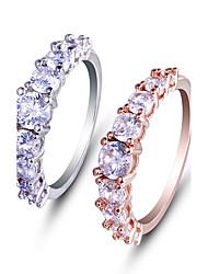 Кольцо Обручальное кольцо Цирконий Мода Простой стиль Elegant Платина Цирконий Круглой формы Бижутерия ДляСвадьба Для вечеринок