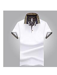 Для мужчин На выход На каждый день Лето Футболка Рубашечный воротник,Простое Однотонный С короткими рукавами,Хлопок,Средняя