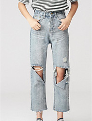 Women's High Waist Micro-elastic Jeans Pants,Sexy Relaxed Solid