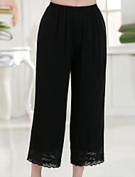 Feminino Simples Cintura Alta Micro-Elástica Solto Calças,Solto Sólido,Com Corte