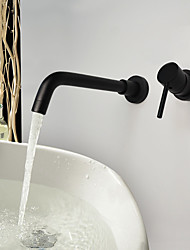 Matte Antique Wall Mounted with  Ceramic Valve Single Handle Two Holes for  Oil-rubbed Bronze  Bathroom Sink Faucet