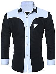 Для мужчин На выход На каждый день Большие размеры Весна Осень Рубашка Классический воротник,Простое Уличный стиль Панк & Готика