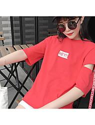 Damen Solide Einfach T-shirt,Rundhalsausschnitt ¾-Arm Baumwolle