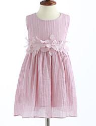 Girl's Lattice Solid Dress,Cotton Summer Sleeveless