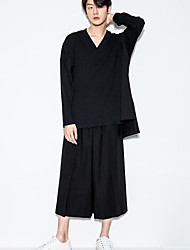Masculino Simples Cintura Média Micro-Elástica Solto Calças,Largo Solto Sólido