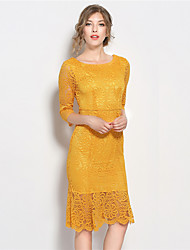 SUOQI Women Dresses Round Neck Short Sleeve Lace Dress Yellow Knee-length Summer Dress